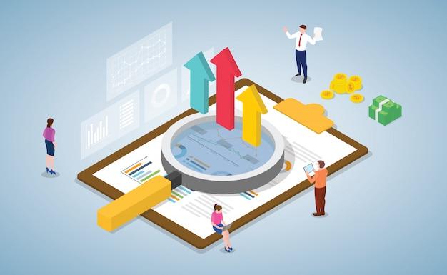 Análisis de datos comerciales con el equipo y las personas que trabajan juntas en los documentos con estilo isométrico moderno.
