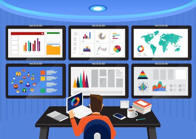 Análisis de datos conceptuales. visualice con gráficos y tablas el crecimiento del marketing. ilustración.