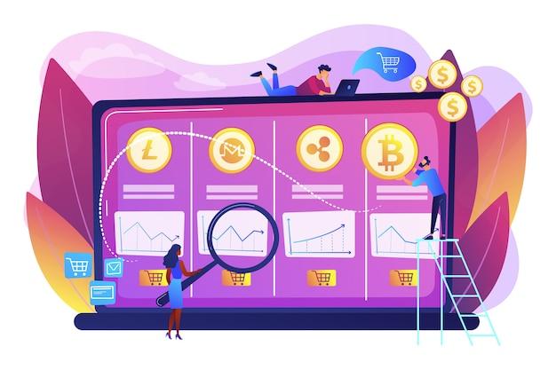 Análisis de datos económicos, cálculo del valor de mercado. mesa de operaciones de criptomonedas, plataforma de futuros de bitcoin, concepto de servicios de intercambio de criptomonedas oficiales.