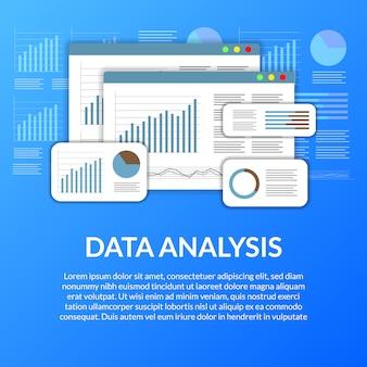 Análisis de datos estadísticos de la página web con tabla, gráfico, línea, diagrama.