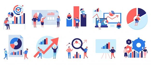 Análisis de datos herramientas técnicas diagramas gráficos símbolos presentación análisis estrategia colorido elementos planos conjunto aislado
