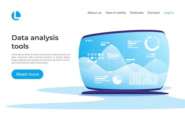 Análisis de datos, investigación, planificación, estadísticas, concepto de gestión financiera. plantilla de página de destino muestras globales