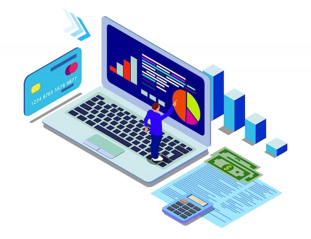 Análisis de datos isométricos en estilo plano
