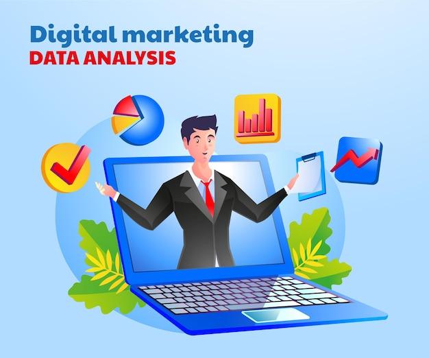 Análisis de datos de marketing digital con un hombre y un símbolo de computadora portátil