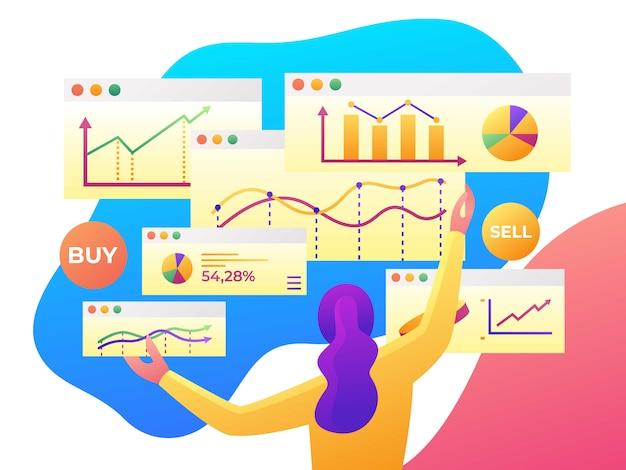 Análisis de datos modernos, estadística financiera, ilustración de estilo plano.