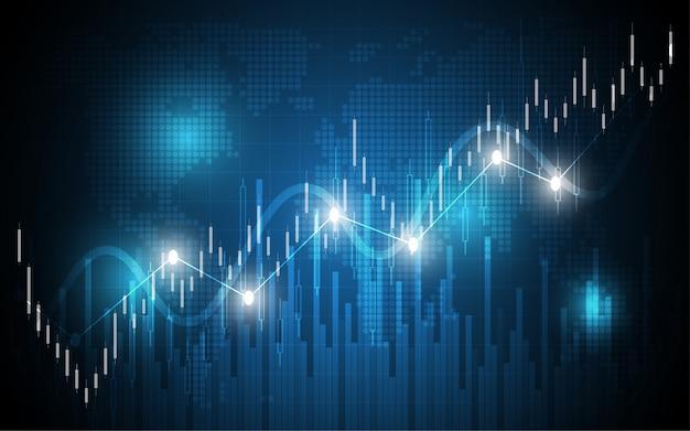 Análisis de datos de negocios del gráfico de la vela del gráfico de la tabla financiera