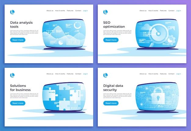 Análisis de datos, optimización seo, soluciones comerciales, seguridad digital plantillas de página de destino.