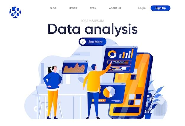 Análisis de datos de página de aterrizaje plana. personas que utilizan la aplicación móvil con análisis de negocios en la ilustración de la pantalla. composición de la página web de análisis de datos financieros en línea con personajes de personas.