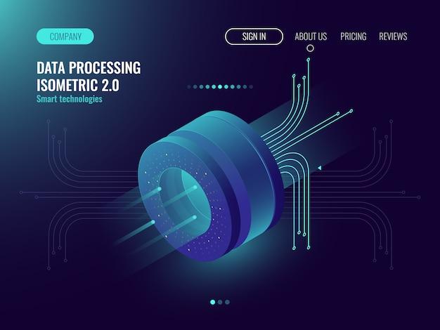 Análisis de datos que procesa la computación de datos grandes, flujo de información, laboratorio de ciencia digital