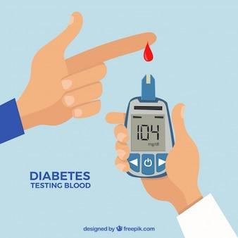 Analisis de sangre para diabéticos con diseño plano