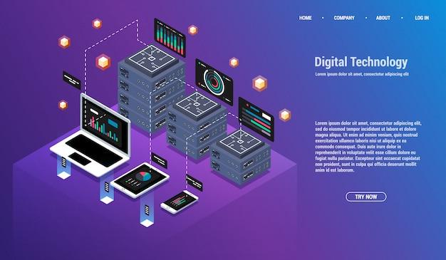 Análisis e inversión. concepto de visualización de datos. isometrico 3d