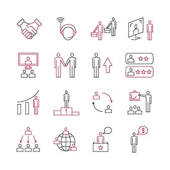 Análisis empresarial y soporte experto de iconos de clientes.