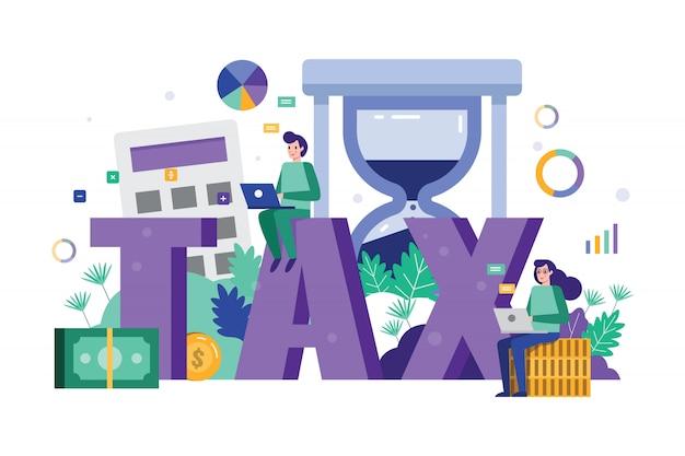 Análisis de equipo de negocios y datos fiscales de estrategia en el plazo de tiempo de impuestos.