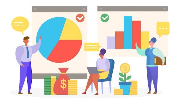 Análisis de estadísticas de informes, las personas están de pie por gráficos, ilustración.