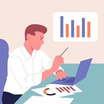 Análisis, estadísticas, planificación, concepto de asociación empresarial.