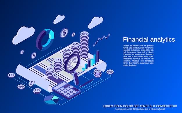 Análisis financiero, concepto isométrico plano de estadísticas comerciales