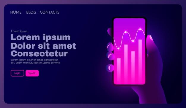 Análisis de gráficos de tendencias de mercado de concepto de tecnología móvil futurista en teléfonos inteligentes