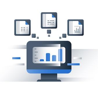 Análisis de grandes datos, recopilación y procesamiento de información, gráfico de informes, servidor de datos, tecnología empresarial, icono, ilustración plana