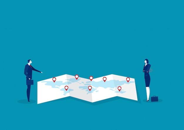 Análisis de hombre de negocios en mapa de papel para vector de concepto de negocio de estrategia palan