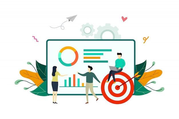 Análisis de infografía, ilustración plana de análisis de datos financieros