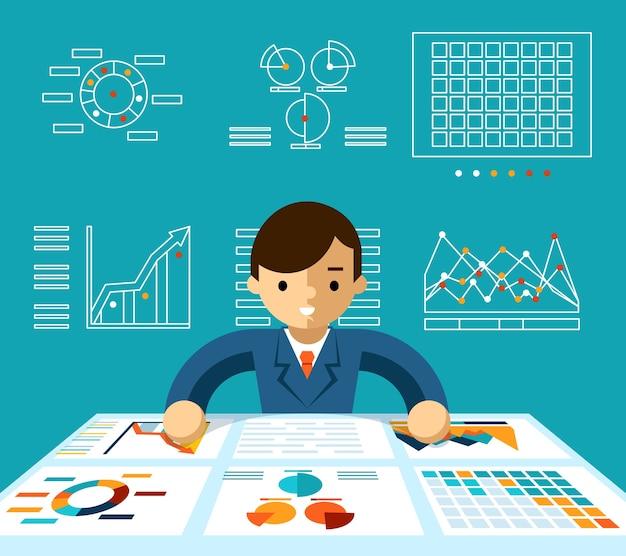 Análisis de información. supervisión de la economía, gerente y progreso y productivo, ilustración vectorial