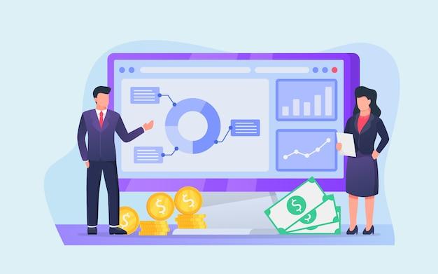 Análisis de informes de gráficos y gráficos de negocios en la pantalla de la computadora para inversiones y ganancias