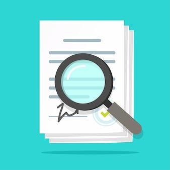 Análisis de inspección de auditoría de los documentos del contrato del acuerdo, revisión de los términos de la declaración