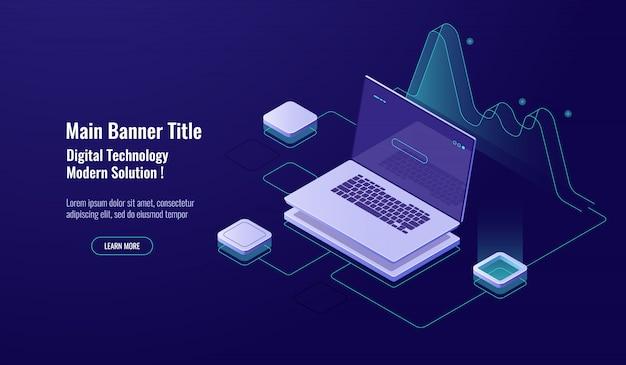 Análisis en línea, procesamiento de big data, computadora portátil con gráfica, visualización de datos, isométrica