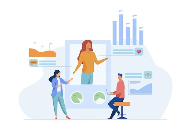 Análisis de marketing en redes sociales. los gerentes analizan los me gusta del perfil, los comentarios, las vistas, la ilustración vectorial plana. internet, promoción, smm