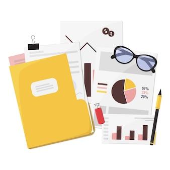 Análisis de negocio, informe financiero, consultoría, desarrollo, investigación, planificación, concepto de auditoría.