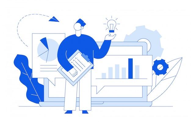 Análisis de negocios y concepto de idea.