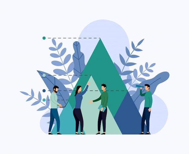 Análisis de negocios y datos con personajes, ilustración de negocios