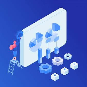 Análisis de negocios, optimización de software isométrica.