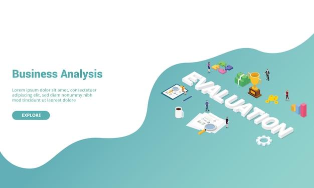 Análisis de rendimiento de evaluación empresarial isométrico para plantilla de sitio web o banner de página de inicio