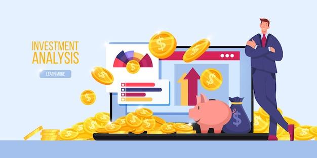 Análisis de riesgo, informe fiscal de auditoría financiera o concepto de página de destino empresarial con comerciante, computadora portátil, gráficos.