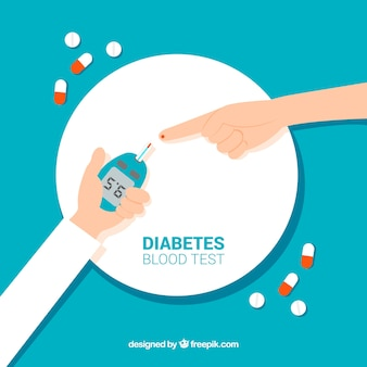 Análisis de sangre para diabetes dibujado a mano