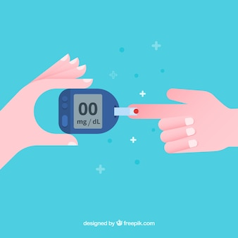 Análisis de sangre para diabetes con diseño plano
