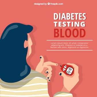 Análisis de sangre para diabéticos con diseño plano