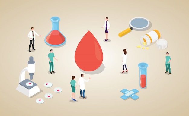 Análisis de sangre con equipo médico y enfermera con estilo isométrico moderno.