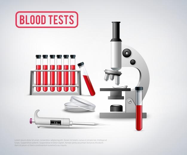Análisis de sangre establecido fondo
