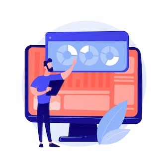 Análisis de sitios web. análisis de informes seo. gráficos circulares, diagramas, pantalla de monitor de computadora. ilustración de concepto de presentación anual de analista empresarial y financiero