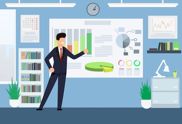 Análisis y tabla de productividad de dibujos animados. hombre en traje de oficina de pie junto a la tabla esquemática. el gerente se regocija en la tabla de indicadores de tendencia positiva. ilustración. interior de oficina