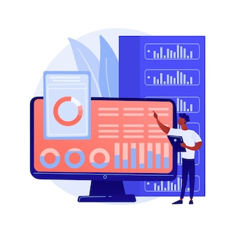 Análisis del tablero. evaluación del desempeño informático. gráfico en pantalla, análisis estadístico, valoración infográfica. informe comercial en exhibición. ilustración de metáfora de concepto aislado de vector.