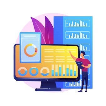 Análisis del tablero. evaluación del desempeño informático. gráfico en pantalla, análisis estadístico, valoración infográfica. informe comercial en exhibición. ilustración de metáfora de concepto aislado.