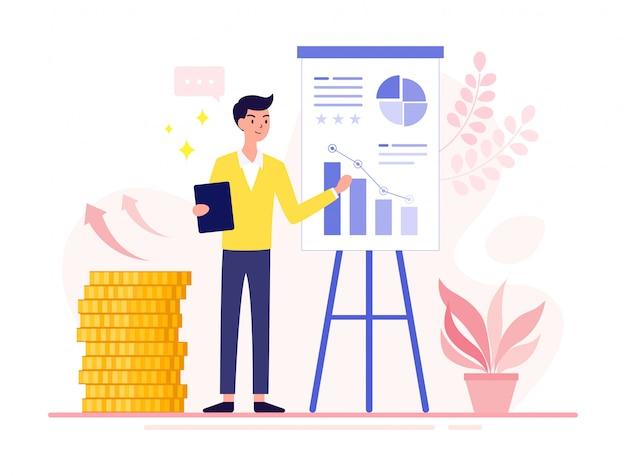 Analista financiero joven empresario que presenta un nuevo proyecto que incluye gráficos de conceptos y diagramas de informe de logros de inversión.