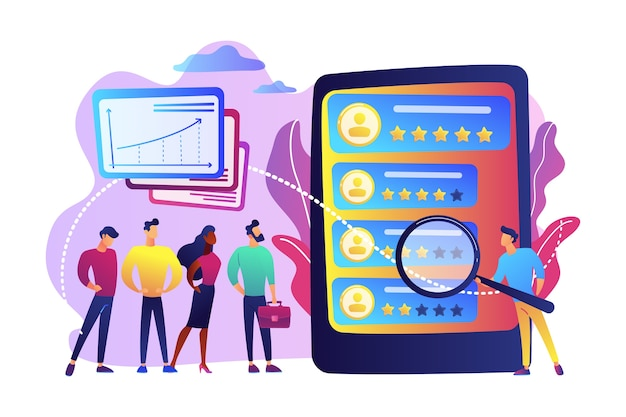 Analista de personas diminutas observando el desempeño de los trabajadores en la tableta. calificación de desempeño, medición del trabajo de los empleados, concepto de retroalimentación de eficiencia laboral.