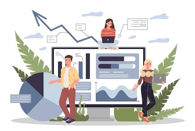 Analistas de marketing desarrollando estrategia