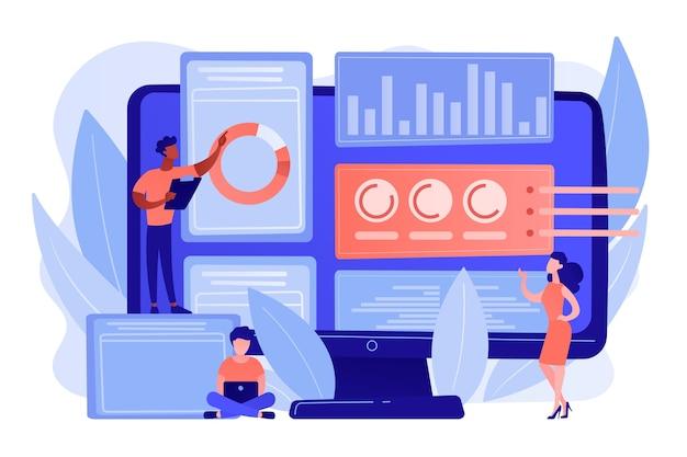 Analistas de negocios que realizan la gestión de ideas en la pantalla de la computadora. software de gestión de la innovación, herramientas de intercambio de ideas, concepto de control de ti de innovación