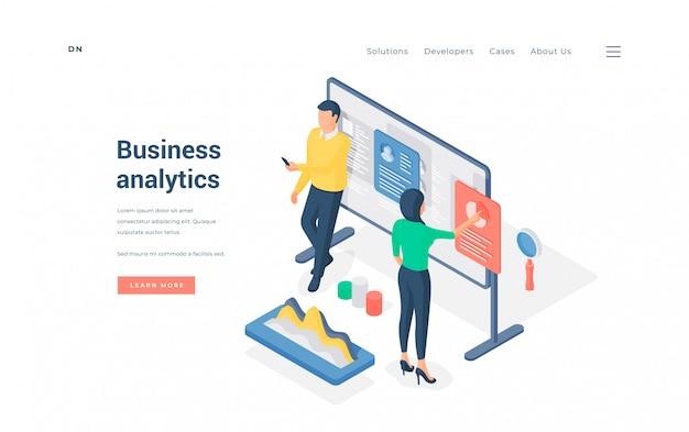 Analistas de negocios que trabajan con la ilustración de datos.
