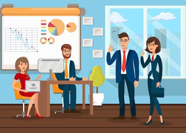 Analistas de negocios trabajo en equipo
